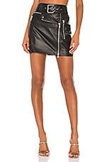 Camila Coelho Sawyer Leather Moto Skirt in Black