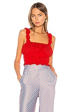 Camila Coelho Eugenie Top in Red Scarlet