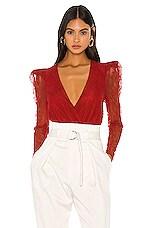 Camila Coelho Nanine Bodysuit in Flame Red