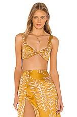 Camila Coelho Gwendolyn Crop Top in Gold Tropical
