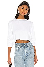 COTTON CITIZEN Tokyo Long Sleeve Crop Tee in White