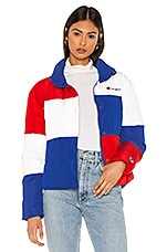 Champion Color Block Puff Jacket in Surf The Web