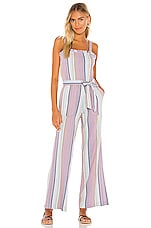 Chaser Smocked Ruffle Cami Jumpsuit in Stripe