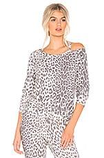 Chaser Vented Neck Raglan Pullover in Animal Print
