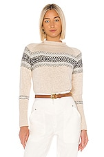 Chaser Fair Isle Mock Neck Pullover Sweater in Natural