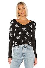 Chaser Star Intarsia V Neck Pullover in Black & Silver Stars
