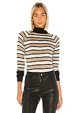Chaser Turtleneck Raglan Shirttail Sweater in Black & Gold Stripes
