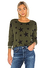 Chaser Military Stars Cashmere Blend Sweater in Safari