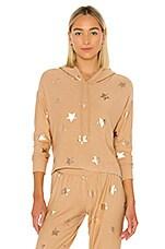 Chaser Rose Gold Stars Sweatshirt in Tea Latte