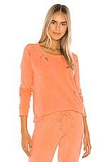 Chaser Cotton Fleece Long Sleeve Raglan Pullover Sweatshirt in Neon Orange