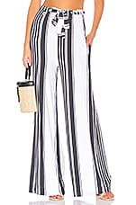 Chaser Cool Jersey Paperbag Waist Pant in Stripe