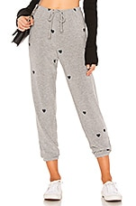 Chaser Tiny Hearts Pant in Heather Grey