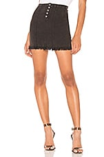 Chaser Button Front Frayed Mini Skirt in Vintage Black