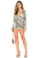 Chaser Peplum Sleeve Romper in Floral