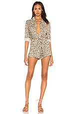 Chaser Snap Front Collared Romper in Animal Print