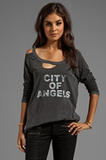 Chaser City of Angels Deconstructed Long Sleeve Raglan in Black