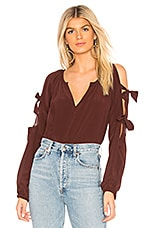Chaser Silk Slit Tie Sleeve Blouse in Mulberry