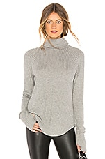 Chaser Thermal Raglan Turtleneck in Heather Grey