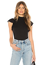 Chaser Mock Neck Ruffle Sleeve Top in Union Black
