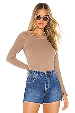 Chaser Ruffle Shirttail Open Neck Tee in Terra