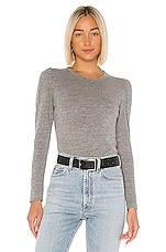 Chaser Puff Sleeve Crew Neck Tee in Streaky Grey