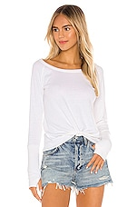 Chaser Knot Front Long Sleeve Thumbhole Cuff Tee in White