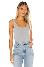 Chaser Cropped Double Scoop Ring Cami in Heather Grey