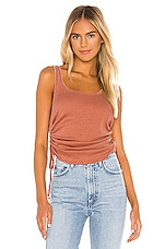 Chaser Shirred Sides Double Scoop Tank in Sunkissed