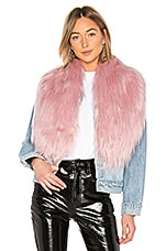 Charlotte Simone Flossy Faux Fur Scarf in Soft Pink