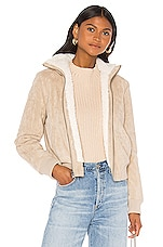 cupcakes and cashmere Kendal Reversible Faux Suede With Sherpa Flight Jacket in Cafe Au Lait
