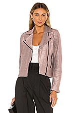 cupcakes and cashmere Hollister Metallic Knit Moto Jacket in Pale Mauve