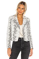cupcakes and cashmere Beatrix Snake Moto Jacket in White