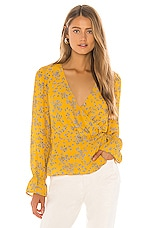 cupcakes and cashmere Joie Tossed Buds Wrap Blouse in Harvest Gold