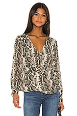 cupcakes and cashmere Jasper Wrap Blouse in Deep Forest