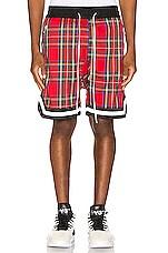 Crysp Denim Plaid Jordan Ball Shorts in Red Plaid