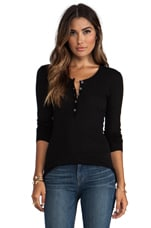 Detailed Henley Long Sleeve Slub Tee in Black
