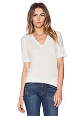 Loose Knit Jersey V Tee in Natural