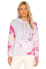 DANNIJO Patchwork Tie Dye Hoodie in Pink