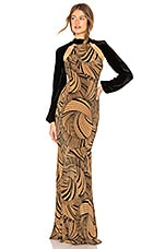 DE LA VALI Ludo Gown in Dizzy Print