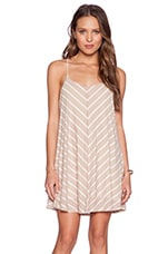 Sybil Stripe Mini Dress in Taupe