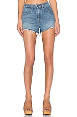 Bite High Rise Frayed Jean Shorts in Light Indigo Aged