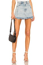 DENIM x ALEXANDER WANG Pleated Mini Skirt in Pebble Bleach