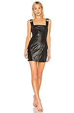DANIELLE GUIZIO Faux Leather O-Ring Dress in Black