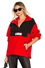 DANIELLE GUIZIO Pullover Fleece Jacket in Black & Red
