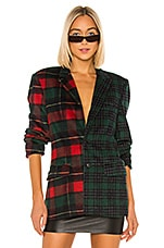 DANIELLE GUIZIO Wool Oversized Plaid Blazer in Multi
