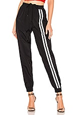 DANIELLE GUIZIO Nylon Reflective Stripe Track Pant in Black