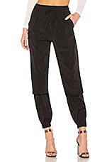 DANIELLE GUIZIO Nylon Zipper Vent Track Pant in Black