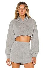 DANIELLE GUIZIO Fleece Button Up Blouse in Grey