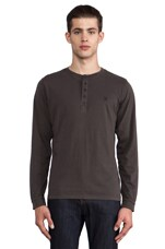 Flavien Long Sleeve Henley in Charcoal