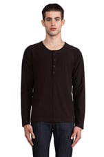 Canopy Long Sleeve Henley in Black